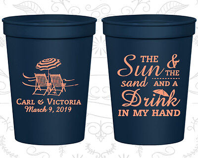 Personalized Wedding Plastic Cups Custom Cup (353) Tropical Wedding Favors - Custom Plastic Cups
