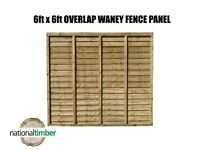 (Pack of 10) 6ft x 6ft Waney Lap Overlap Larch Fence Panel
