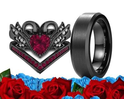 His Tungsten Black And Her Cz Red Ruby Black Gold Engagement Wedding Ring Set - Red And Gold Wedding