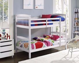 Same Day Cash On Delivery🔥💥 3FT White Chunky Pine Wood Bunk Bed With Range Of Mattress option