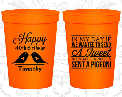 Personalized 40th Birthday Favors (Personalized 40th Birthday Favor Cups Custom Cup (20139) Bird)