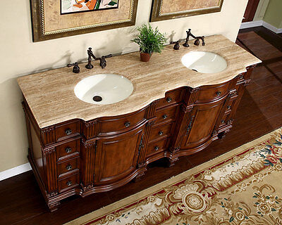 "72"" Travertine Stone Top Bathroom Furniture Double Sink Bath Vanity Cabinet 722T"