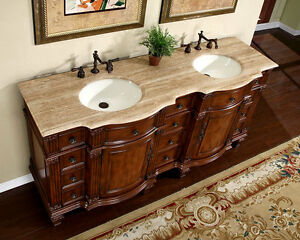Vanity Top Double Sink. 72  Travertine Stone Top Bathroom Furniture Double Sink Bath Vanity Cabinet 722T eBay