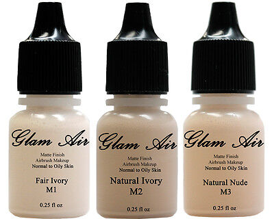 Three 3 Glam Air Airbrush Makeup Foundations M1, M2 and M3 Blush