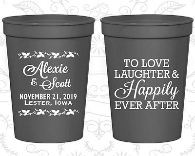 Personalized Wedding Party Cups Custom Cup (32) Happily Every After