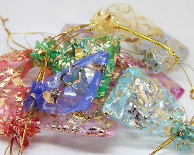 Fashion Jewelry Organza Candy Pendent Mix Color Gift Pouch Bags Wedding 95X70MM