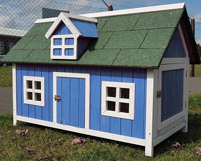 CHICKEN COOP RUN HEN HOUSE POULTRY ARK HOME NEST BOX COOPS RABBIT HUTCH BLUE