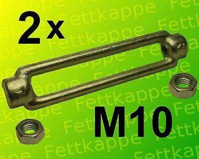 2 x Spannschloß  M10 kpl. mit  Kontermuttern links + rechts - verzinkt