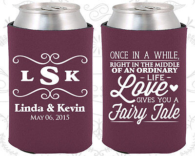 Personalized Wedding Coozies Custom Coozie (541) Fairy Tale Wedding Favors (Personalized Coozies)