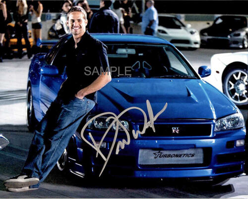 PAUL WALKER SIGNED THE FAST AND FURIOUS GT-R RACING 8x10 REPRINT PHOTO RP