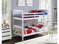 Brand New -- Single Wooden Bunk Bed Frame + 2 Mattresses -- Cheapest Price -- Same Day Delivery
