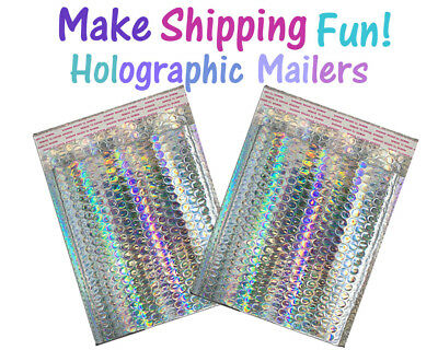 8x12 Holographic Metallic Bubble Mailer Self Sealing Padded Designer Envelopes