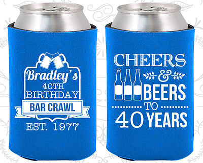 Personalized 40th Birthday Favors (Personalized 40th Birthday Party Favor Koozies (20216) Cheers To 40 Years,)