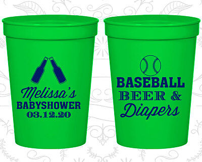 Baby Shower Cups Cup Decorations (90132) Baseball Beer And Diapers, - Baseball Baby Shower Decorations