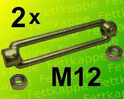 2 x Spannschloß M12 kpl. + Kontermuttern links + rechts