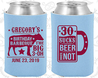 30 Birthday Party Ideas (Personalized 30th Birthday Party Ideas Coozies (20248) BBQ Birthday,)