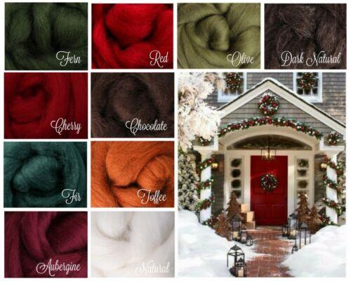 PRIM CHRISTMAS Palette Wool Roving Fiber 2.5 ozs./70 grams Felting Spinning Soap