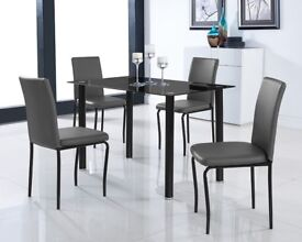 Black Glass Dining Room Table Set and with 4 Chairs