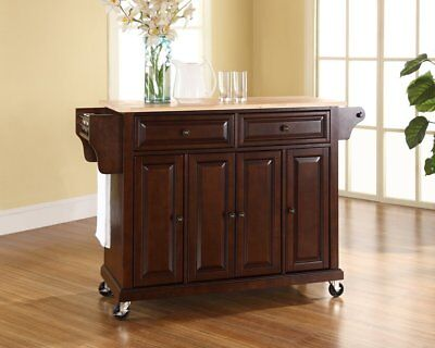 Crosley Accoutrements Rolling Kitchen Island with Natural Wood Top, Vintage Mahogany