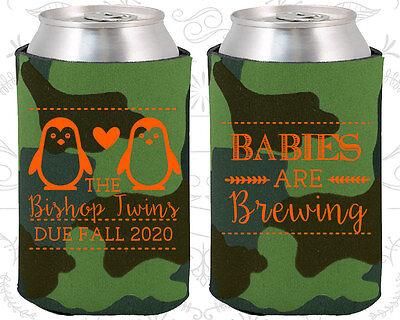 Baby Shower Koozies Koozie Favors (90070) Penguin, Twins, Babies Are Brewing