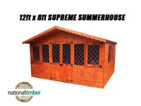 12FT x 8FT SUMMER HOUSE SUPREME LOG CABIN OFFICE BAR SHED HIGH QUALITY TIMBER