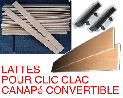 4 lattes bois+supports canapÉ clic clac convertible lit sommier 50/57/63/70/90cm