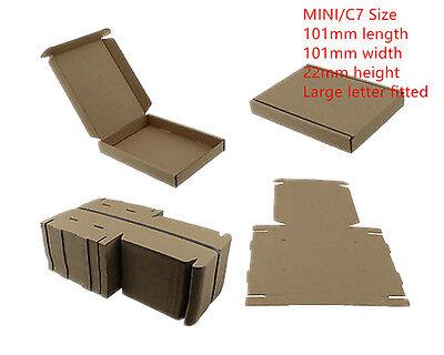 100xBROWN C7 MINI POSTAL BOX 101x101x22mm ROYALMAIL LARGELETTER CARDBOARD PIP CS