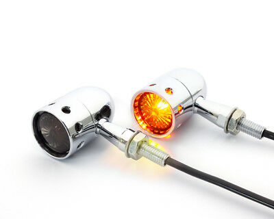 DRILLED MOTORBIKE INDICATORS FOR RETRO CUSTOM HOG CHOPPER BOBBER PROJE