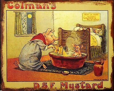 Colmans Mustard Pigs VINTAGE ENAMEL METAL TIN SIGN WALL PLAQUE