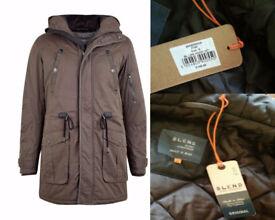 BRAND NEW Blend Khaki Long Hooded Men's Coat Jacket, UNUSED