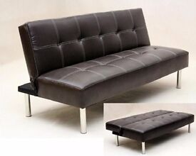 BRAND NEW VENICE CLICK CLACK LEATHER COMFIRTABLE SOFA BED - 2 COLOURS - IN CHEAPEST PRICE