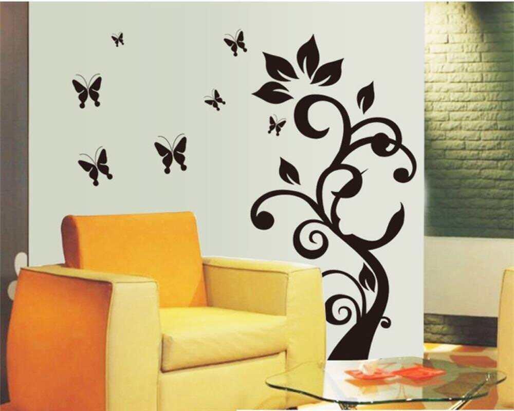 Dekoration Wandtattoo Wandsticker Wandaufkleber Wohnzimmer Blumen Ranke Schmetterlinge W829 Mobel Wohnen Dslr Zone Com