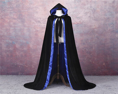 Black + blue Cloak Long Cape with Hood Masquerade Halloween Costume For Adult](Black Cape With Hood)