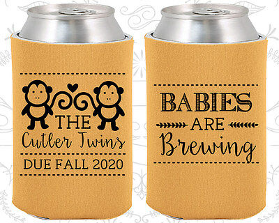 Baby Shower Koozies Koozie Ideas (90068) Babys Are Brewing, Twins, Monkey - Twins Baby Shower Ideas