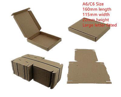 100 BROWN C6 A6 CARDBOARD POSTAL BOX 160x115x22mm ROYALMAIL LARGE LETTER PIP CS