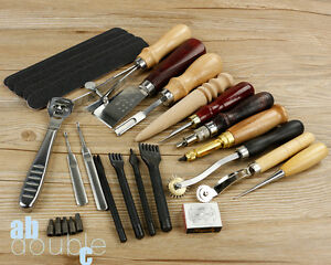 18 Pcs Leather Punch Tools Craft kit Stitching Carving Sewing Saddle Groover Kit