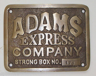 ADAMS EXPRESS COMPANY SOLID BRASS PLAQUE