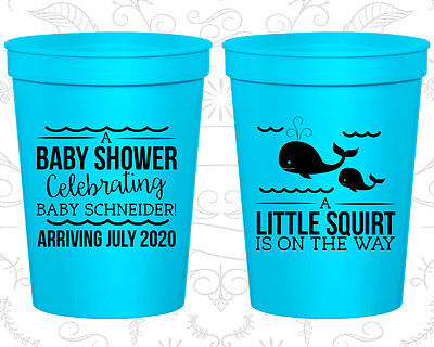 Baby Shower Favor Cups Cup Favors (90044) Whale, Blue Baby Boy  Baby Blue Plastic Cup