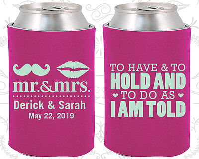 Personalized Wedding Coozies Custom Coozie (91) Mr and Mrs (Personalized Coozies)