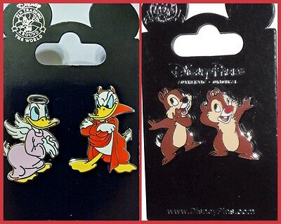 Donald Angel Devil + Chip and Dale whispering Disney Parks Pin Lot - NEW - Angel And Devil