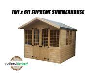 10FT x 6FT SUMMER HOUSE SUPREME LOG CABIN OFFICE BAR SHED HIGHEST QUALITY TIMBER