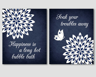 2 prints set, navy blue and white art for bathroom wall decor - quotes, flowers - Navy Blue Home Decor