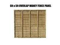 OVERLAP WANEY PANELS 6FT X 5FT PACK OF 10