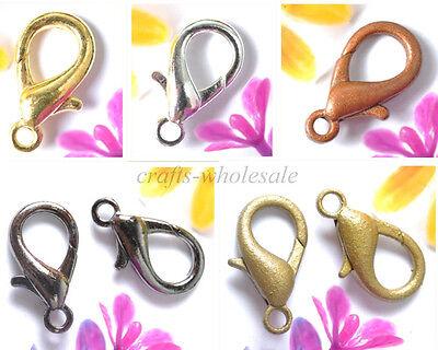 Gold, Silver, Copper, Black, Bronze & Lobster Clasps Hooks DIY 10MM 12MM - Copper Gold Clasps
