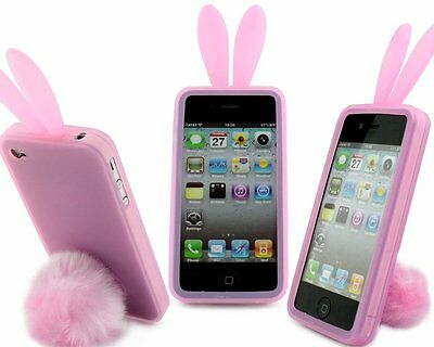 Pink Skin Case - Pink Bunny Rabbit Rubber Skin Case Ear & Tail Fur for Apple iPhone 4S 4 4G NEW