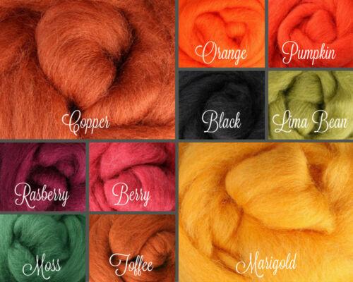 Fall Palette Wool Roving Fiber 2.5 ozs./70 grams Needle Felting Spinning Soap