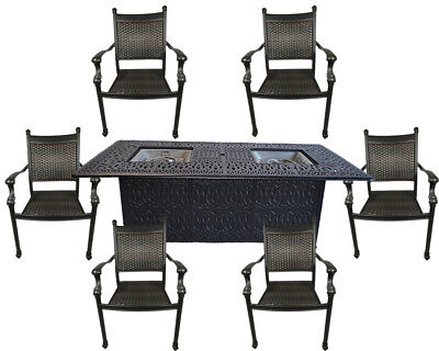 7 Piece Outdoor Wicker Patio Dining Chair Set Propane Fire Pit Table