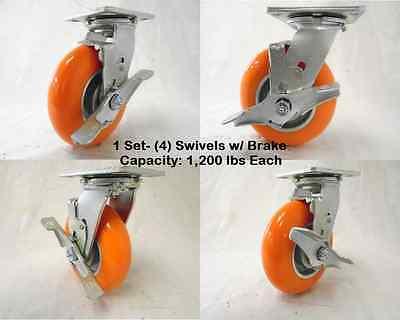 6 X 2 Swivel Caster With Brake Apex Polyurethane Wheel 1200lbs Ea. Tool Box4