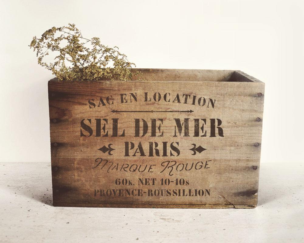 Schablone für  Möbel und Stoff Deko - SEL de MER Paris - französische Salz Sack