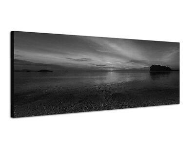 Strand Weiße Spiegel (150x50cm Meer Strand Fels Sonnenuntergang Spiegelung)
